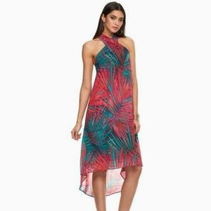 Jennifer Lopez Tropical Halter Keyhole Dress Hi-lo